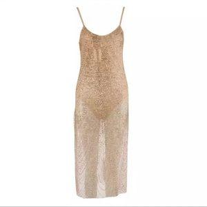 Dresses & Skirts - NEED GONE Gold nude mesh glitter dress